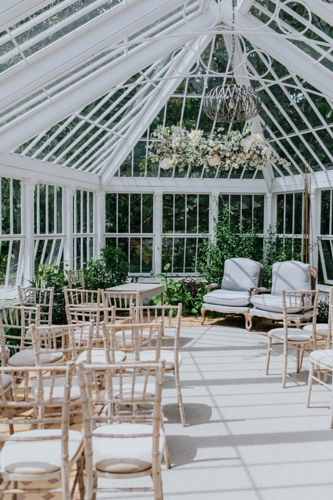 Wedding set up in the conservatory at Burncoose House
